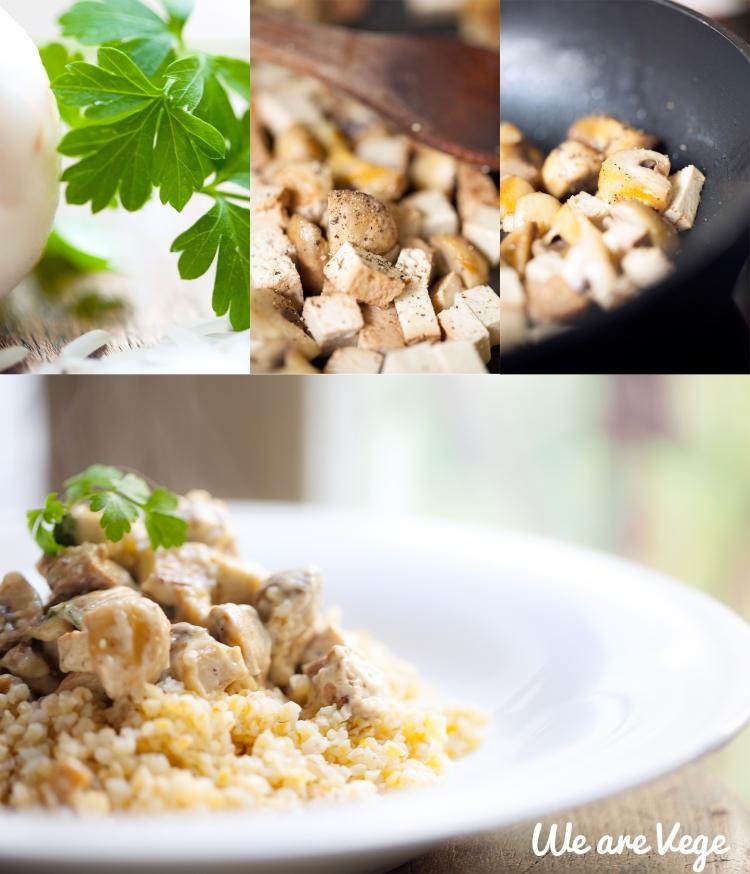 Sauce champignons tofu fumé