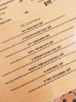 Menu de Organic's : les plats